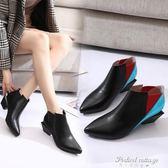 新款歐洲站女靴尖頭粗跟女鞋踝靴及裸靴高跟短靴馬丁靴女·蒂小屋