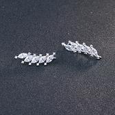 耳環 925純銀鑲鑽銀飾-葉子可愛生日情人節禮物女飾品73dy104【時尚巴黎】
