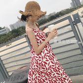 細肩帶洋裝 夏季新款寬鬆百搭羽毛印花性感細肩帶洋裝潮時尚氣質露背吊帶裙·夏茉生活