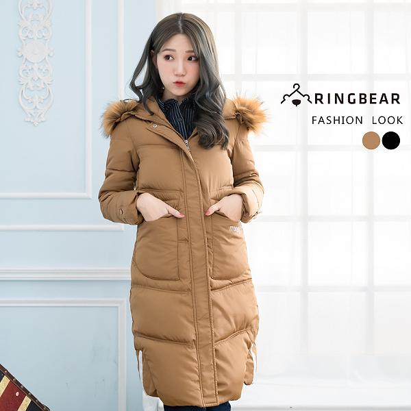 鋪棉外套--高雅氣質保暖毛領連帽深口前口袋羽絨棉長版外套(黑.卡其XL-3L)-J326眼圈熊中大尺碼