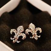 耳環 玫瑰金純銀鑲鑽-有型防過敏生日聖誕節禮物女飾品73ca204【時尚巴黎】