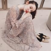 長裙秋裝顯瘦V領長款長袖裙子碎花雪紡連身裙