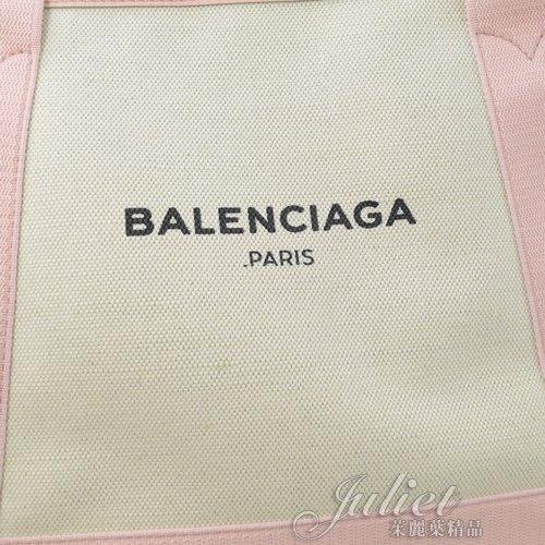 茱麗葉精品【全新現貨】BALENCIAGA 巴黎世家 339933 NAVY 厚帆布皮飾邊手提托特包.粉邊