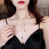 限定款鎖骨鍊 性感鎖骨鍊雙層星星月亮短版項鍊個性脖子飾品chocker項圈頸鍊女頸鍊