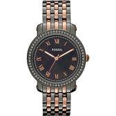 FOSSIL 羅馬情緣晶鑽腕錶/手錶-黑珍珠貝x雙色版 ES3115