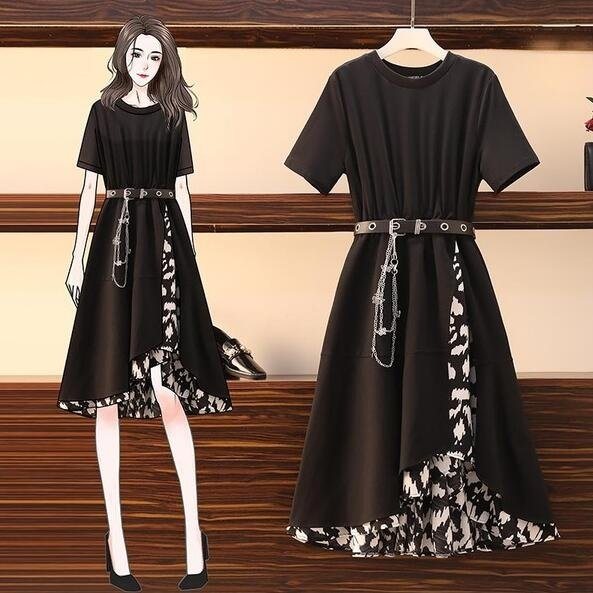 洋裝 連身裙 中大尺碼M-5XL新款拼接收腰顯瘦不規則假兩件顯高炸街大碼長裙4F019B-2020.胖胖唯依