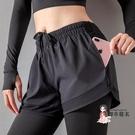 瑜珈短褲 假兩件運動長褲女緊身褲打底褲子帶短褲跑步健身房黑色瑜珈褲外穿