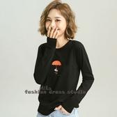 秋季新款韓版寬鬆純棉長袖恤印花打底上衣