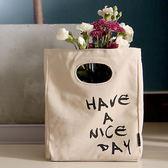 簡約北歐字母布藝手提便當袋午餐袋帆布袋飯盒包野餐袋日常收納袋 熊貓本