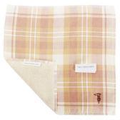 TRUSSARDI 雙色格紋棉質方巾(淡橘色)989045-314