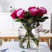 INS風極簡玻璃花瓶家居北歐玫瑰插花透明鮮花水培客廳裝飾品擺件  樂芙美鞋