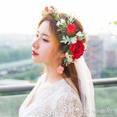 森系小清新花環韓式新娘頭飾仿真花朵髮飾頭花影樓婚紗結婚飾品 晴天時尚館