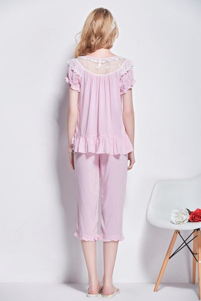 棉綢睡衣女夏季純色睡衣-dee0019