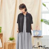 【Tiara Tiara】百貨同步新品aw延  素色小立領排扣襯衫(黑)