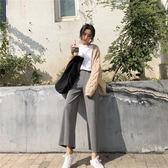 闊腿褲女秋冬寬鬆港味chic高腰學生休閒褲針織長褲學生直筒褲女潮