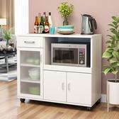 現代簡約餐邊櫃櫥碗櫃烤箱儲物櫃帶門微波爐櫃子多功能茶水收納櫃WY 【八折搶購】