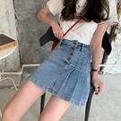 韓國東大門牛仔短裙2021年新款薄款高腰半身裙顯瘦a字包臀百褶裙 pinkq時尚女裝