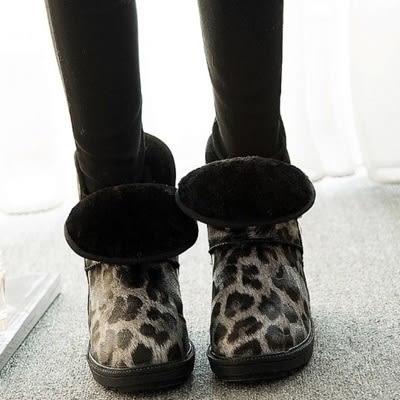 中筒雪靴-時尚潮流豹紋皮帶扣女厚底靴子2色73kg30[巴黎精品]