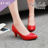 大尺碼女鞋-凱莉密碼-氣場提升小圓頭修飾正裝百搭工作鞋高跟鞋6cm(41-43)【YN702】紅色