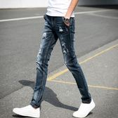 夏季黑色破洞牛仔褲男士小腳修身學生青少年乞丐韓版潮流 KB1226【每日三C】