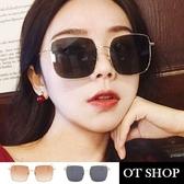 OT SHOP太陽眼鏡‧歐美韓系復古流行時尚網紅必備金屬大方框抗UV400墨鏡‧灰片/茶片 ‧現貨‧U46