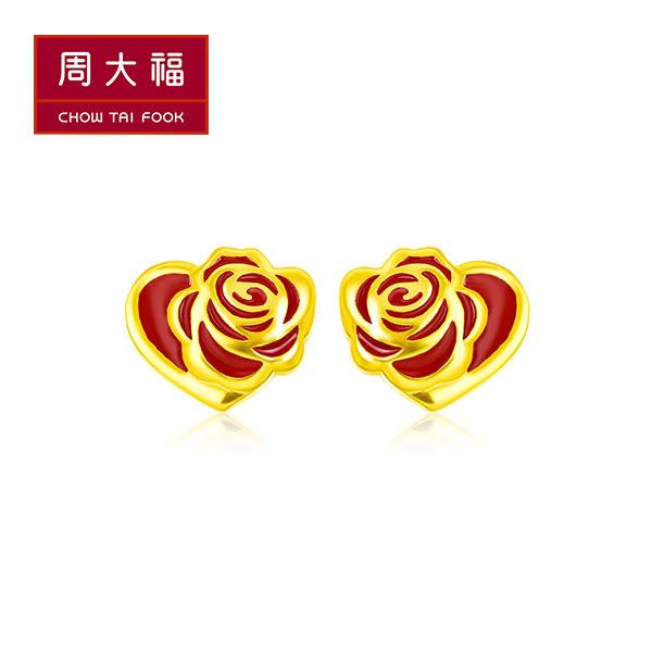 美女與野獸系列-燒青紅玫瑰黃金耳環