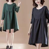小圓領直線條洋裝-中大尺碼 獨具衣格
