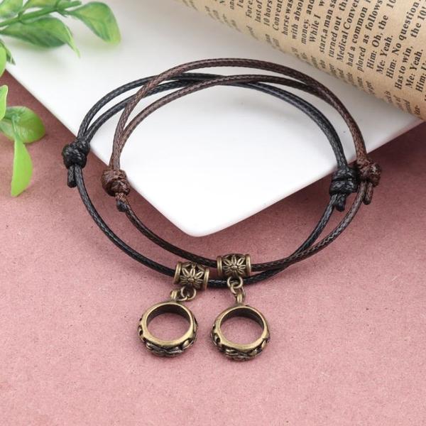 復古蠟繩雙色宮廷風手鏈創意時尚戒指吊墜手繩簡約情