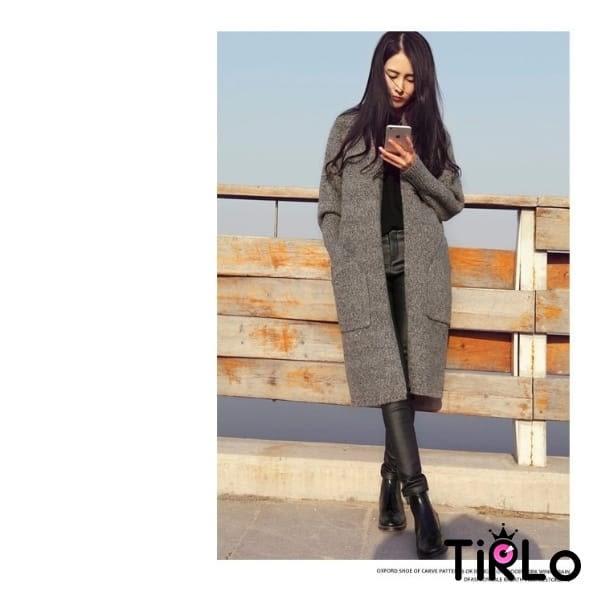 針織外套 -Tirlo-長版口袋針織外套-兩色(駝色現貨)