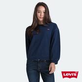 Levis 女款 大學T / 精工藍染 / 迷你布章Logo / 寬鬆落肩 / 燈籠袖