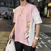 T恤-粉色上衣男生小清新學生百搭T恤原宿港風bf寬鬆ulzzang潮流短袖男