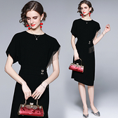 中大尺碼洋裝連身裙~黑色女開叉性感氣質時尚顯瘦不規則連身裙H405A莎菲娜
