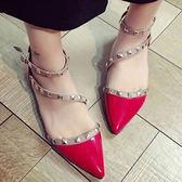 涼鞋 歐美性感鉚釘造型尖頭鞋【S1658】☆雙兒網☆