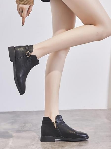 女平底踝靴單靴馬丁靴