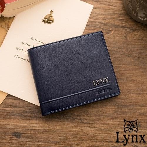 Lynx - 山貓簡約品味真皮款9卡1照短夾-藍