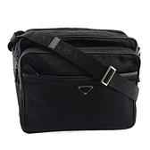 【奢華時尚】PRADA 黑色防水帆布雙層斜背記者包(九成新)#25193