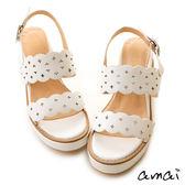 amai星星鏤空花邊厚底涼鞋 白