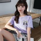 純色竹節棉兔子刺繡T恤女大碼紫色短袖上衣4色6碼T305依佳衣