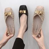 小香風單鞋女2021年秋季新款奶奶鞋平底豆豆鞋溫柔仙女一腳蹬瓢鞋 童趣屋  新品