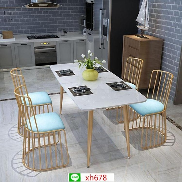 北歐簡約大理石餐桌 家用客廳兩用吃飯桌子現代公寓小戶型餐桌【頁面價格是訂金價格】