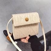 針織韓版極簡小方包時尚簡約女單肩側背包斜背小包包【極簡生活】