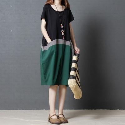 胖妹妹大碼洋裝連身裙~韓版寬松大碼女裝時尚撞色圓領短袖連身裙 女061.2F037莎菲娜