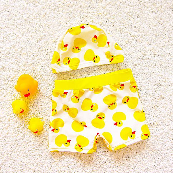 男Baby男童泳裝套裝黃色鴨子含泳褲泳帽現貨