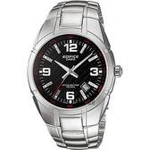【CASIO 卡西歐】EDIFICE 三針系列手錶-黑x銀 EF-125D-1AVUDF