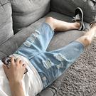 牛仔短褲 男士夏季薄款破洞五分褲青年中褲...
