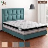 【伊本家居】威尼斯 貓抓皮床組兩件 雙 人5尺(床頭片+床底)蔚藍色5105