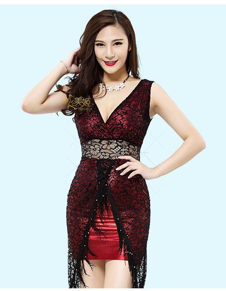 衣美姬♥ 蕾絲精緻 開岔透視 流蘇珠珠 連身洋裝 性感V領 無袖 夜店酒吧 派對表演服 制服