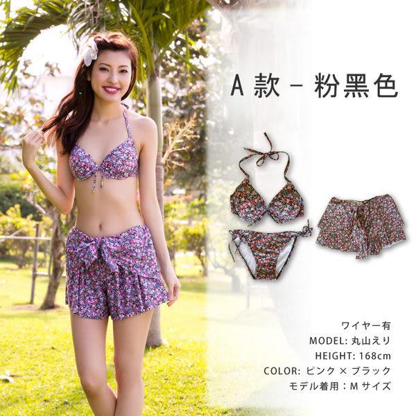 比基尼泳裝-日本品牌AngelLuna 現貨 清新氣質印花短褲鋼圈三件式/四件式小中大尺碼溫泉沙灘泳衣
