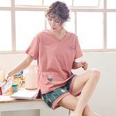 黑五好物節夏季純棉睡衣女韓版短袖短褲套裝學生寬鬆兩件套家居服甜美可外穿 易貨居
