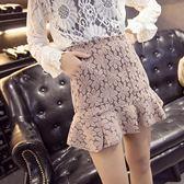 短裙夏女裝蕾絲高腰包臀裙A字裙魚尾裙荷葉邊半身裙短裙小艾時尚